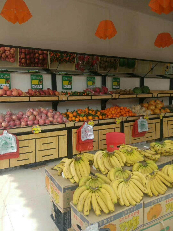 双层钢木结合水果货架